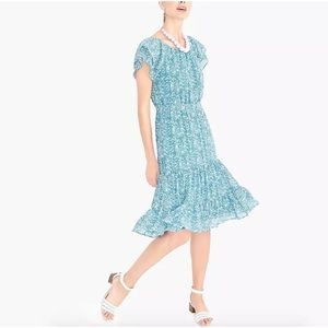 NWT J Crew Floral Tiered Midi Peasant Dress